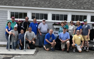 OSDA Beach Cleanup Crew - Pictured Back Row L to R: Rich Worob, Pat Keck, Jon Englund, Jay Thayer, Bruce Mogardo, Adele McConaghy, Van Smick, Rebecca Bevilacqua, Polly Thayer, Mike Herlihy. Front row L to R: Terry Saunders, Kevin Doyle, Emily Doyle, Brian Doyle, Kyle Goodell, Jim Fox, Steve Saunders.