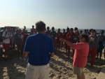 Anne Prior and Jay Thayer addressing the Beach Staff 08-07-18