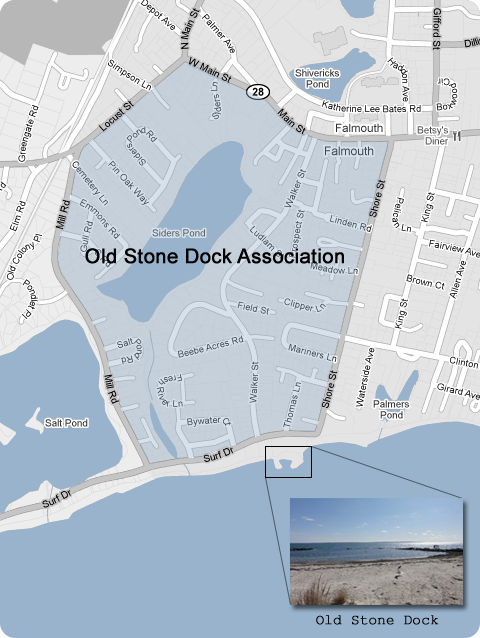 Old Stone Dock Map Falmouth, MA