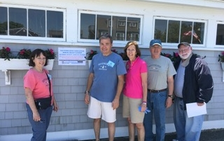 Beach Clean-up Co Chairs, Terry Saunders, Jay Thayer, Polly Thayer as well as Kevin Doyle and Acting Beach Superintendent Bruce Mogardo